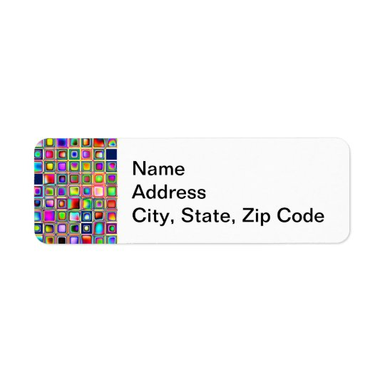 Festive Rainbow Textured Mosaic Tiles Pattern Return Address Label