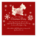 Festive Red and White Dog Christmas Party 13 Cm X 13 Cm Square Invitation Card
