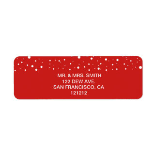 Festive Red and White Snow Return Address Return Address Label