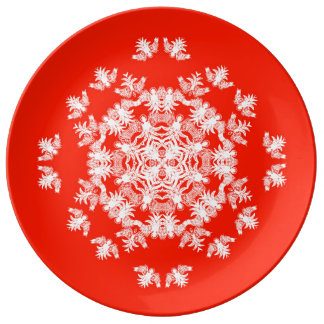Festive Red Angel Snowflake Decorative Plate