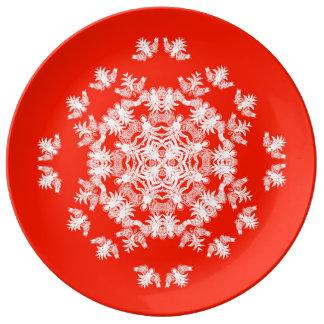 Festive Red Angel Snowflake Decorative Plate Porcelain Plates