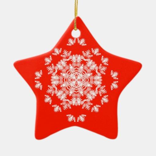 Festive Red Angel Snowflake Ornament