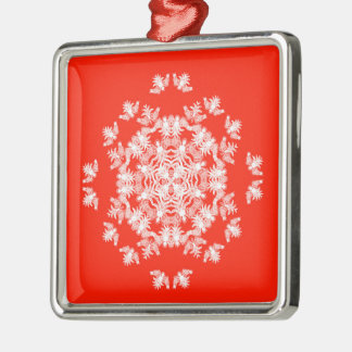 Festive Red Angel Snowflake Square Ornament