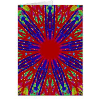 Festive Red Blue Radiating Circular Pattern Card