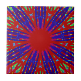 Festive Red Blue Radiating Circular Pattern Small Square Tile