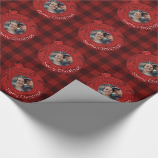 Festive Red Buffalo Plaid Merry Christmas Photo Wrapping Paper