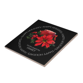 Festive Red Christmas Candle, Holly and Poinsettia Ceramic Tile
