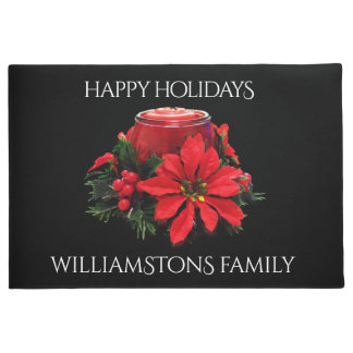 Festive Red Christmas Candle, Holly and Poinsettia Doormat