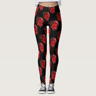 Festive Red Christmas Candle, Holly and Poinsettia Leggings