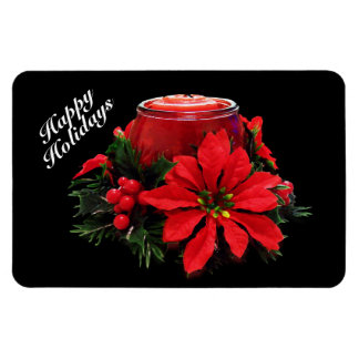 Festive Red Christmas Candle, Holly and Poinsettia Rectangular Photo Magnet