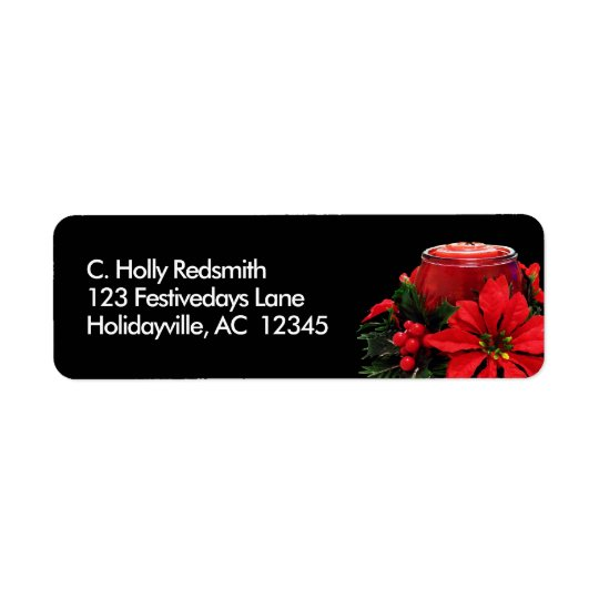 Festive Red Christmas Candle, Holly and Poinsettia Return Address Label
