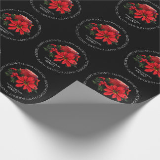 Festive Red Christmas Candle, Holly and Poinsettia Wrapping Paper