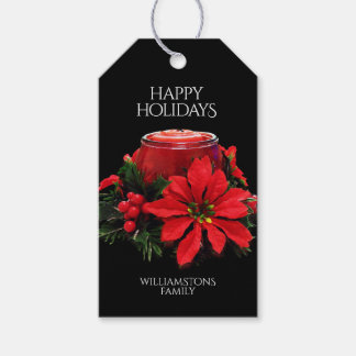 Festive Red Christmas Candles, Holly, & Poinsettia Gift Tags