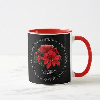 Festive Red Christmas Candles, Holly & Poinsettia Mug