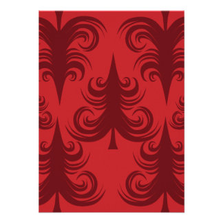 Festive Red Christmas Tree Holiday Xmas Design Personalized Invitations