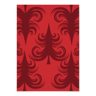 Festive Red Christmas Tree Holiday Xmas Design 11 Cm X 16 Cm Invitation Card
