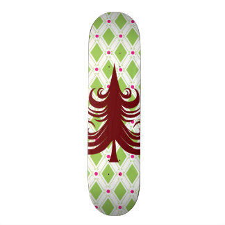 Festive Red Christmas Tree on Holiday Pattern Skate Deck