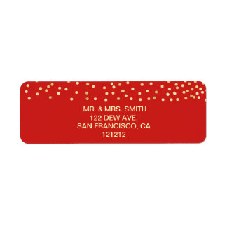 Festive Red Faux Gold Confetti Return Address Return Address Label