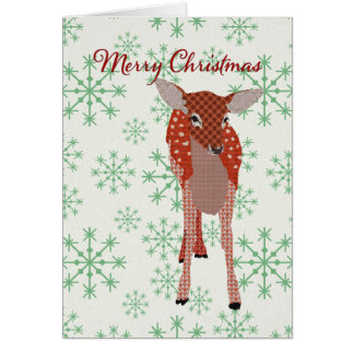 Festive Red Fawn Green Snowflakes Christmas Card