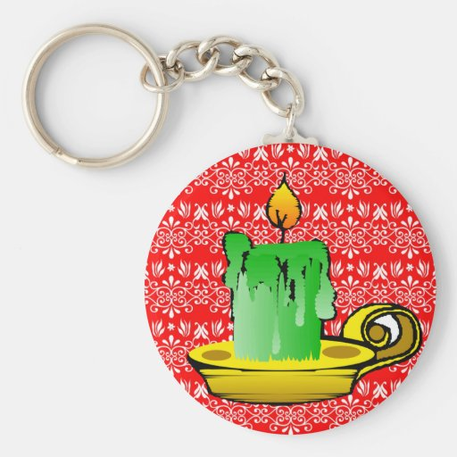 Festive Red Floral Background Keychains