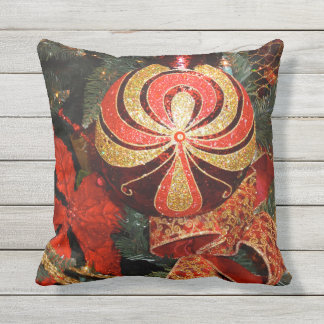 Festive Red Gold Christmas Ornament & Poinsettia Cushion