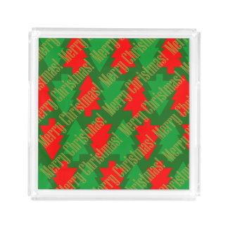 Festive Red Gold Green Christmas Tree Acrylic Tray