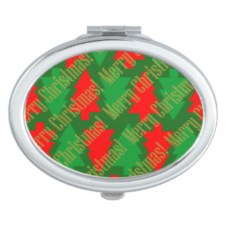 Festive Red Gold Green Christmas Tree Compact Mirrors