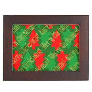 Festive Red Gold Green Christmas Tree Keepsake Box