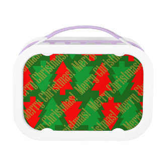 Festive Red Gold Green Christmas Tree Lunch Box