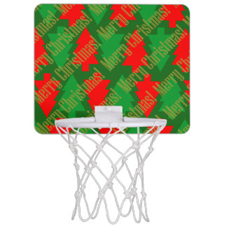 Festive Red Gold Green Christmas Tree Mini Basketball Hoop