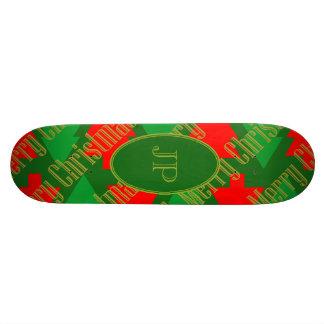Festive Red Gold Green Christmas Tree Monogram 20 Cm Skateboard Deck