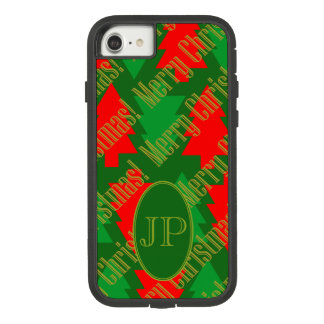 Festive Red Gold Green Christmas Tree Monogram Case-Mate Tough Extreme iPhone 8/7 Case