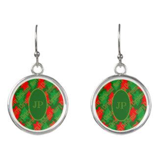 Festive Red Gold Green Christmas Tree Monogram Earrings