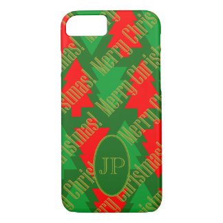 Festive Red Gold Green Christmas Tree Monogram iPhone 8/7 Case