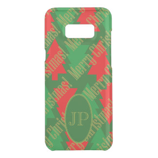 Festive Red Gold Green Christmas Tree Monogram Uncommon Samsung Galaxy S8 Plus Case