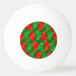 Festive Red Gold Green Christmas Tree Ping Pong Ball