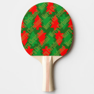 Festive Red Gold Green Christmas Tree Ping Pong Paddle