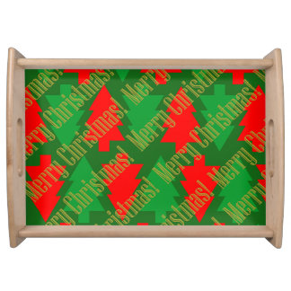 Festive Red Gold Green Christmas Tree Serving Tray