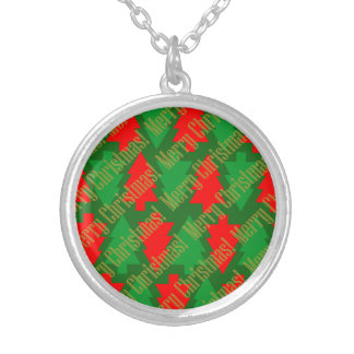 Festive Red Gold Green Christmas Tree Silver Plated Necklace