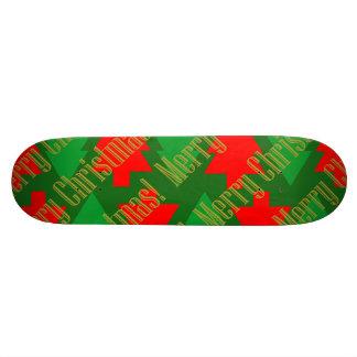 Festive Red Gold Green Christmas Tree Skate Decks