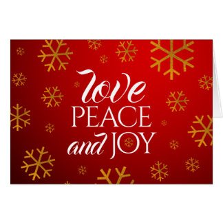 Festive Red Love, Peace, and Joy with Snowflakes Card