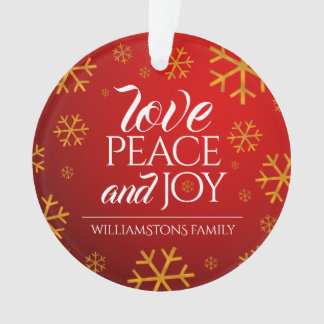 Festive Red Love, Peace, and Joy with Snowflakes Ornament