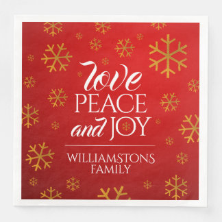 Festive Red Love, Peace, and Joy with Snowflakes Paper Napkins