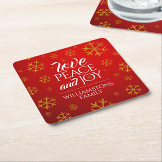 Festive Red Love, Peace, and Joy with Snowflakes Square Paper Coaster