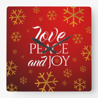 Festive Red Love, Peace, and Joy with Snowflakes Square Wall Clock