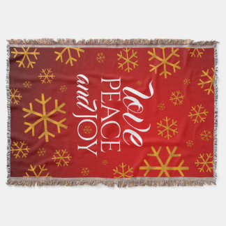 Festive Red Love, Peace, and Joy with Snowflakes Throw Blanket