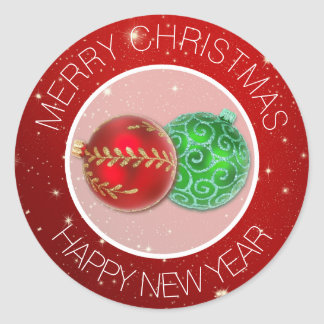 Festive Red Merry Christmas Envelope Seals Round Sticker