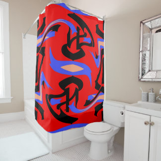 Festive Red Native Indian and Japanese Art Blend Shower Curtain