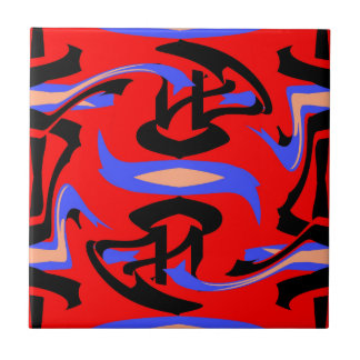 Festive Red Native Indian and Japanese Art Blend Tile
