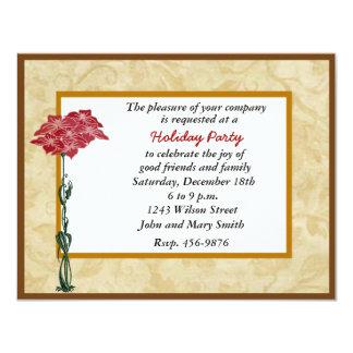 Festive Red Poinsettia Holiday Party Invitation